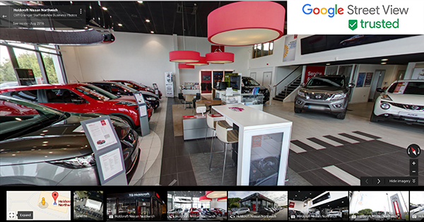 Latest Google Streetview tour - Holdcroft Nissan in Northwich - Staffordshire Business Photos