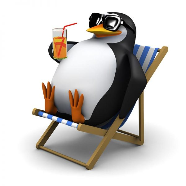 penguin in deckchair